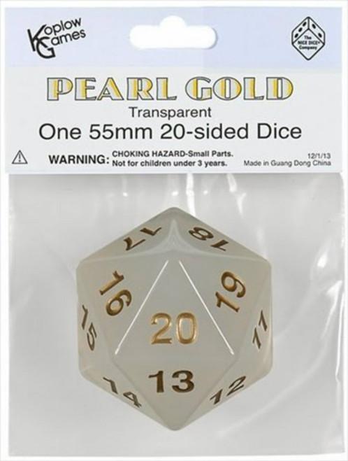 Koplow Games: Jumbo 55mm Transparent D20 Die (Pearl/Gold)