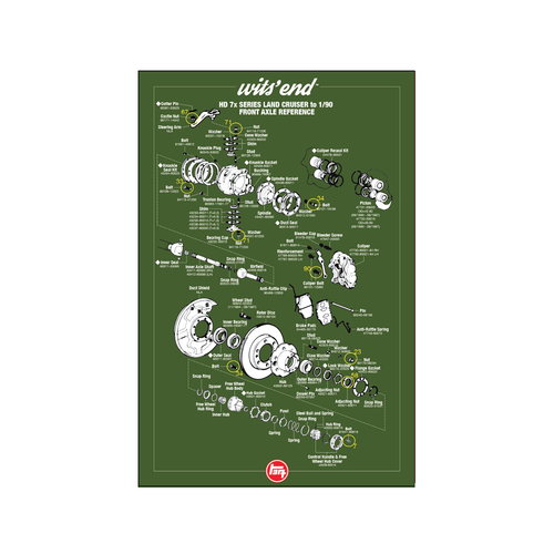 "HD 70 Series Front Axle Reference Poster- 18""x27"""