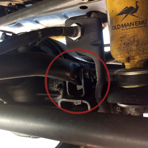 This is the front swaybar tab that gets replaced with the new HD tabs