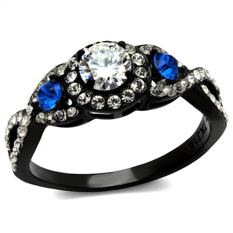 1.26 Ct Clear & Blue Cz Halo Stainless Steel Black Engagement Ring Women's 5-10