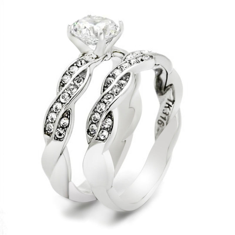 ARTK2475 Stainless Steel 1.78 Ct Round Cut Cz Twisted Wedding Ring Band Set Women's 5-10