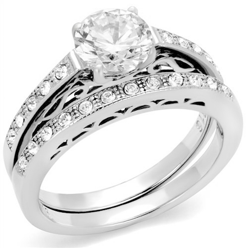 ARTK2477 Stainless Steel 1.39 Ct Round Cut AAA Cz Wedding Band Ring Set Women's Size 5-10