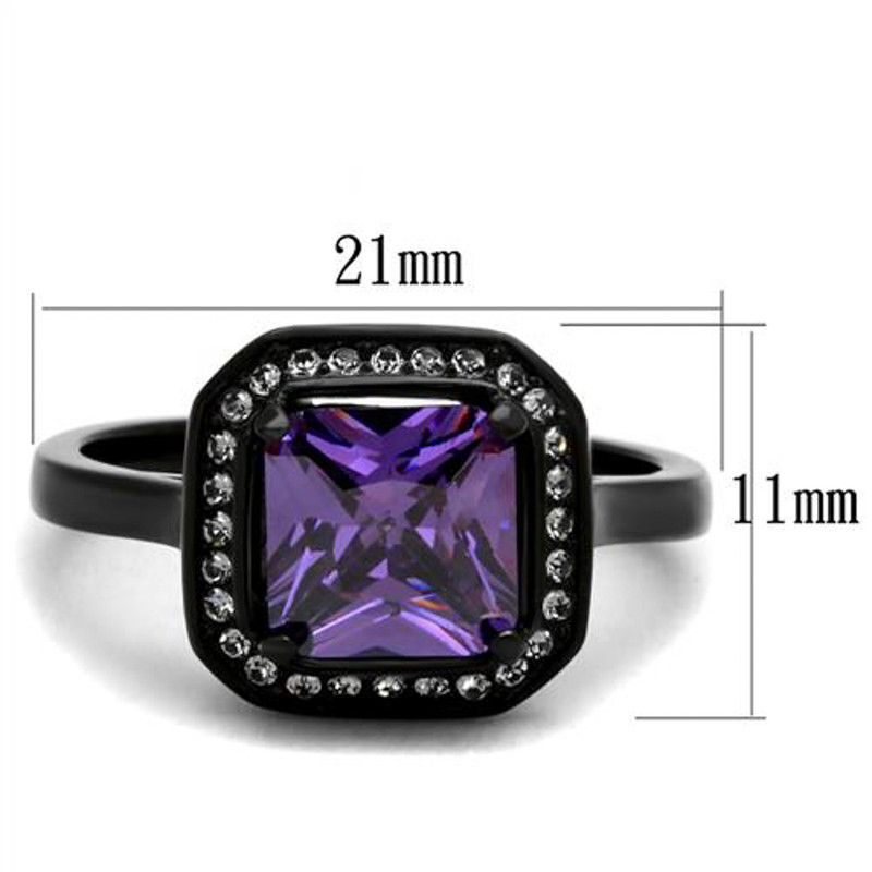 ARTK2487 Black Stainless Steel Princess Cut Amethyst Cz Fashion Ring Women's Size 5-10