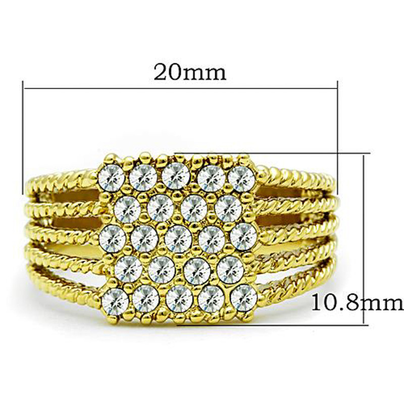ARTK1400 Stainless Steel 14k Gold Ion Plated .34 Ct Crystal Cocktail Fashion Ring Sz 5-10