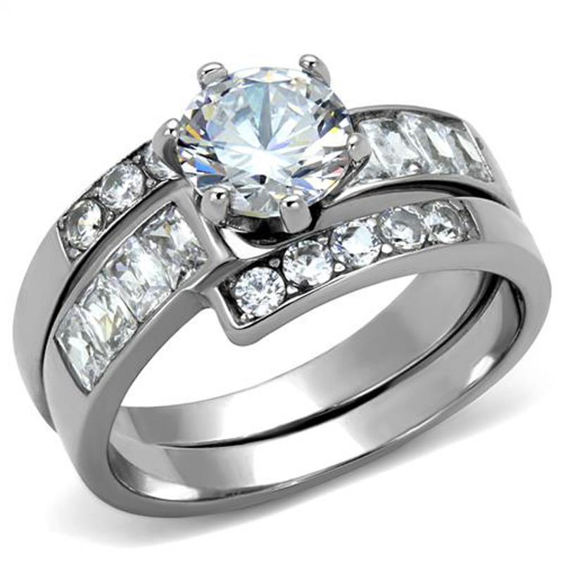 ARTK2616 Stainless Steel 2.5 Ct Round Brilliant Cut AAA Zirconia Women's Wedding Ring Set