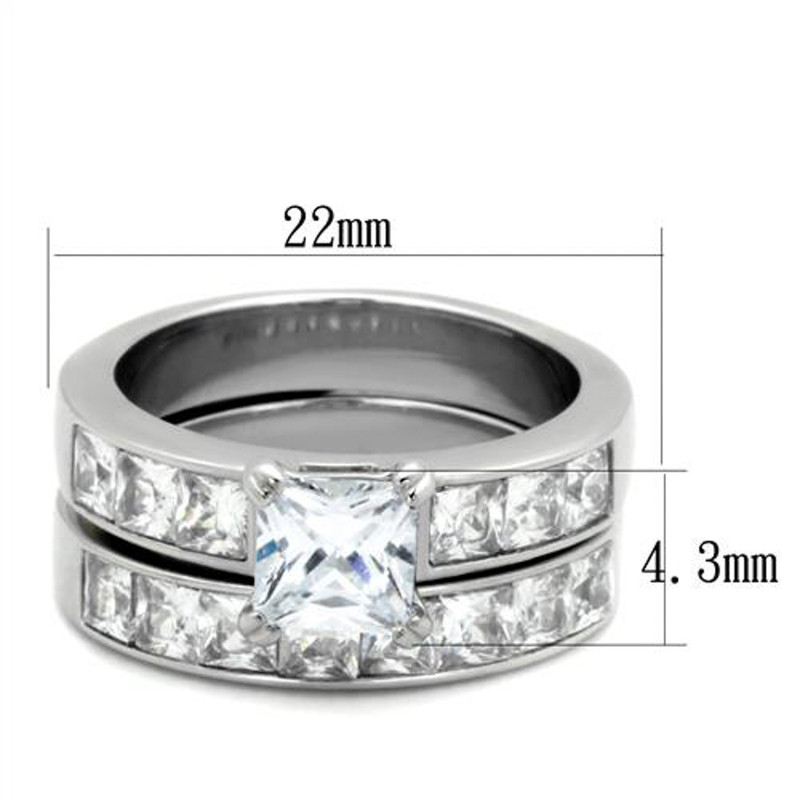 ST61206-ARM0006 His & Her 3pc Princess Wedding Engagement Ring & Men's Band Stainless Steel Set