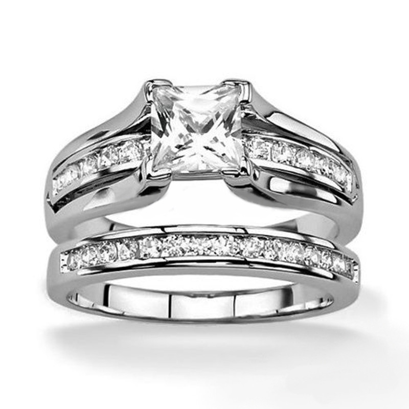 ST0W383-ARH1570 Stainless Steel Hers and His Princess Wedding Ring Set and Eternity Wedding Band