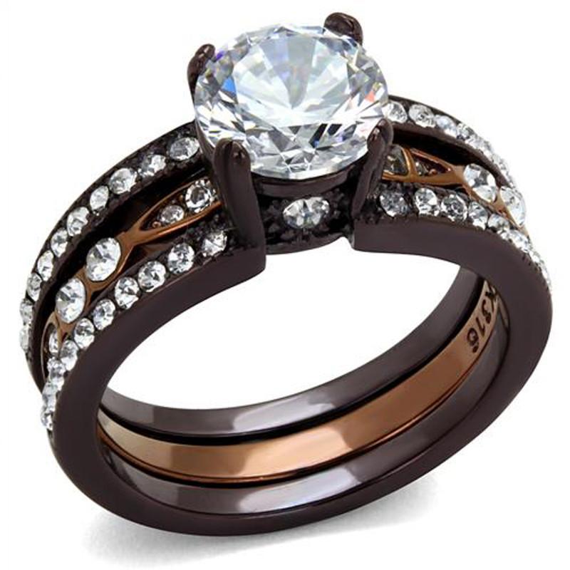 2.75 Ct Round Cut Cz Chocolate Stainless Steel Wedding Ring Set Women's Sz 5-10