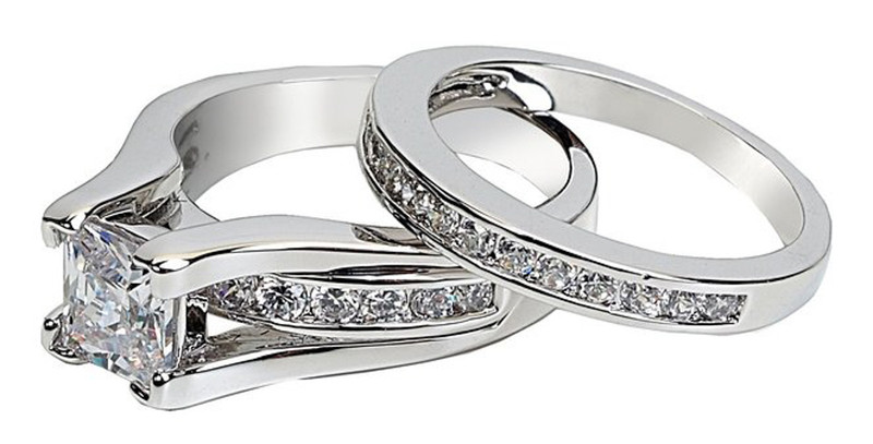 ST0W383-ARM4587 His & Her Stainless Steel 1.38 Ct Cz Bridal Ring Set & Men Zirconia Wedding Band