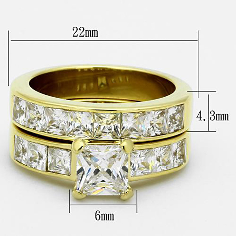 ST61206G-AR012 His & Her 14K G.P. Stainless Steel 3pc Wedding Engagement Ring & Men's Band Set
