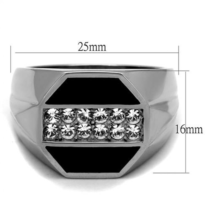 ARTK2309 Men's Round Cut Simulated Diamond Crystal Stainless Steel & Epoxy Ring Sz 8-13