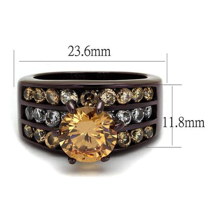 ARTK2681 Dark Brown Stainless Steel 4.31 Ct Champagne CZ Engagement Ring Womens Size 5-10