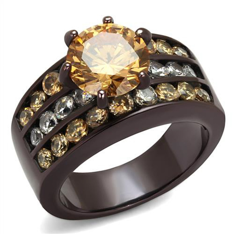 Dark Brown Stainless Steel 4.31 Ct Champagne CZ Engagement Ring Womens Size 5-10