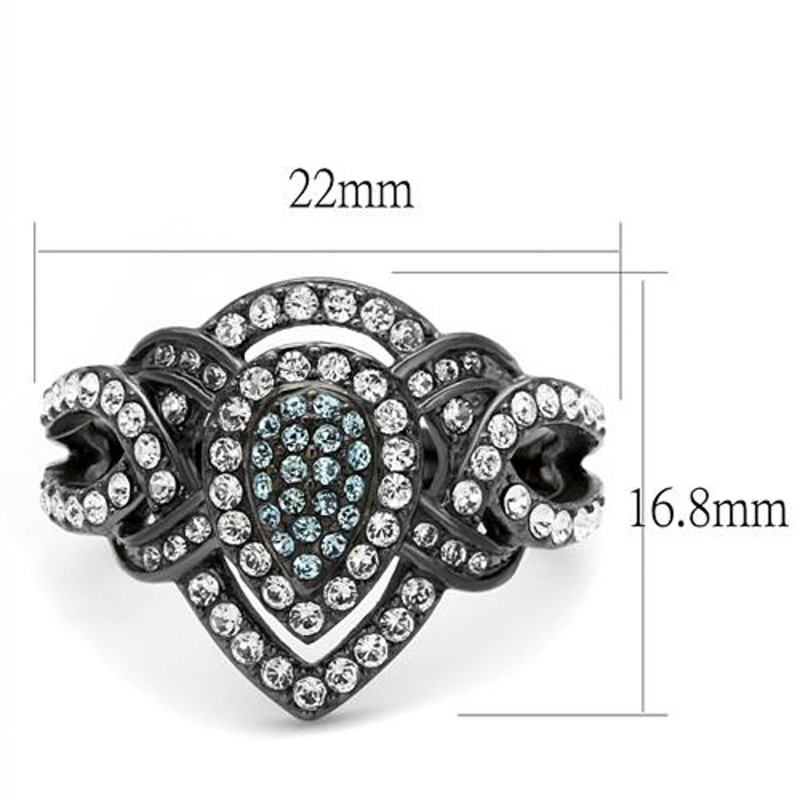 ARTK2679 Light Black Stainless Steel Clear & Aqua Crystal Cocktail Ring Women's Size 5-10