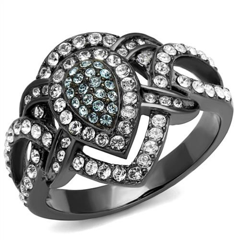 Light Black Stainless Steel Clear & Aqua Crystal Cocktail Ring Women's Size 5-10