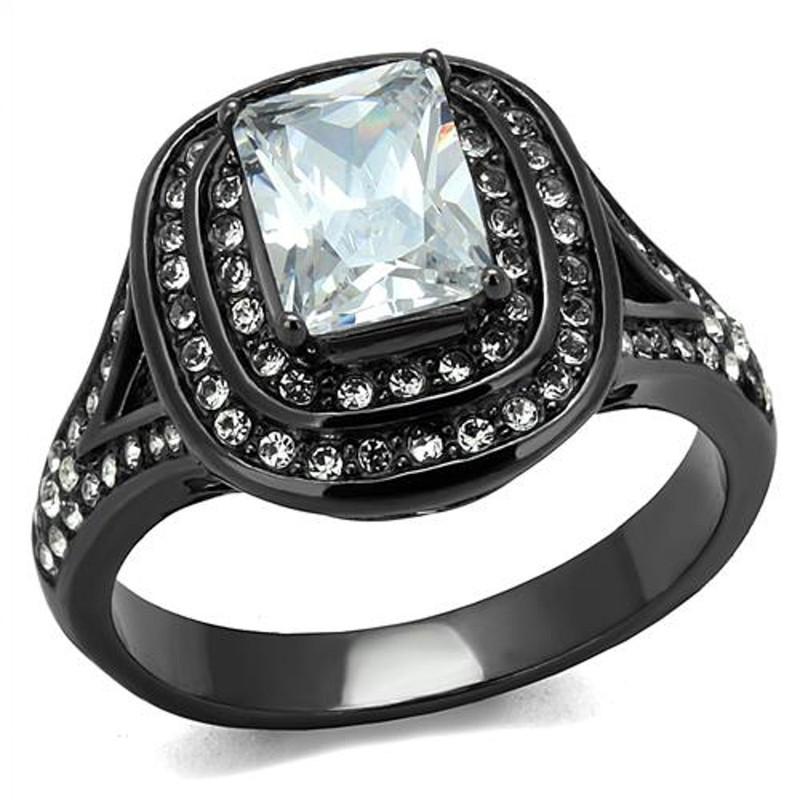 Women's 2.16 Ct Radiant Cut Zirconia Light Black Stainless Steel Engagement Ring