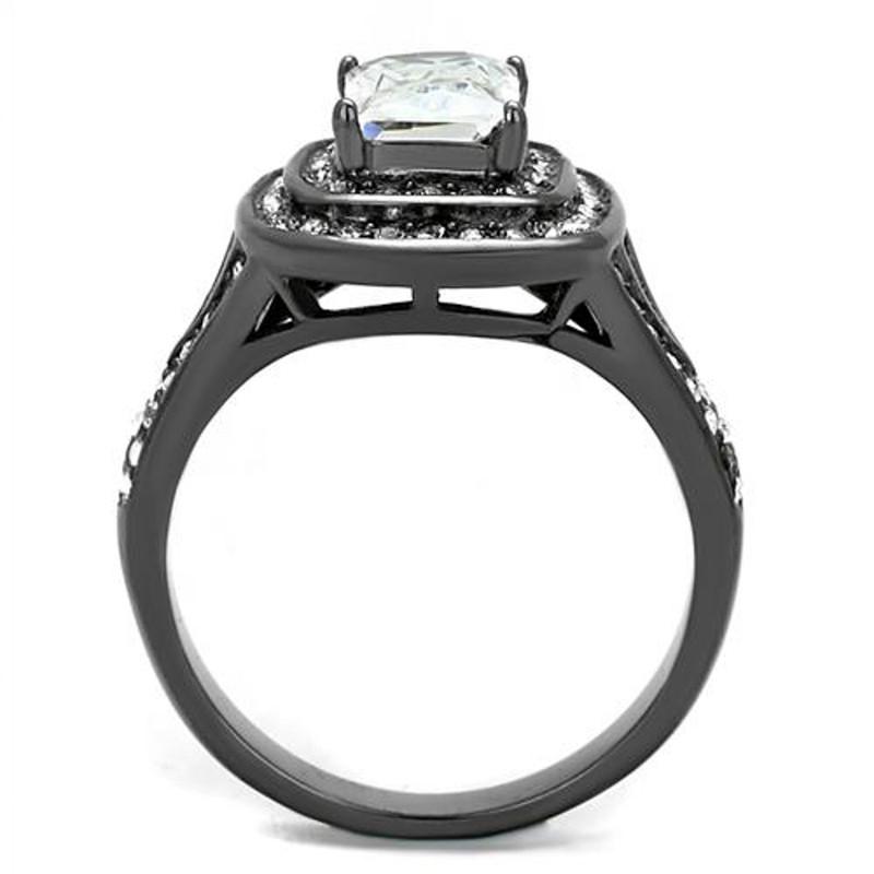 ARTK2731 Women's 2.16 Ct Radiant Cut Zirconia Light Black Stainless Steel Engagement Ring
