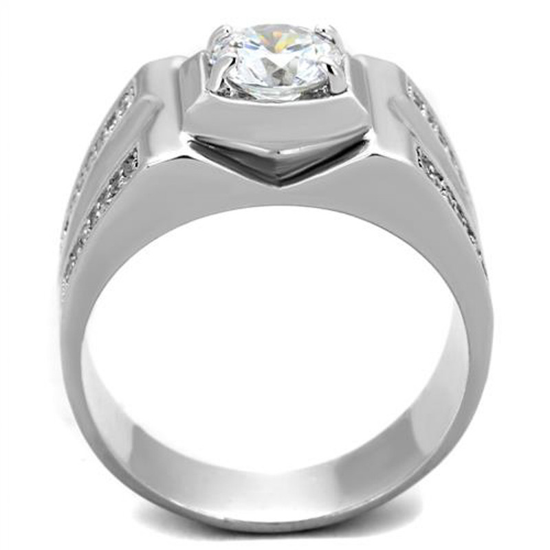 ARTS385 Men's 1 Ct Round Cut Simulated Diamond 925 Sterling Silver Rhodium Plated Ring