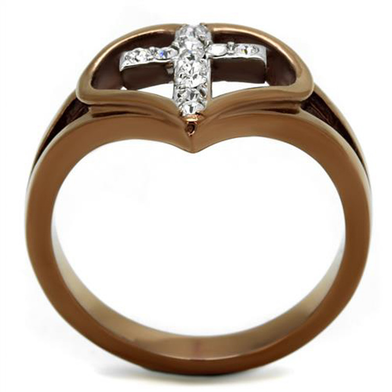 ARTK2802 Light Coffee Stainless Steel Crystal Cross & Heart Fashion Ring Womens Sz 5-10