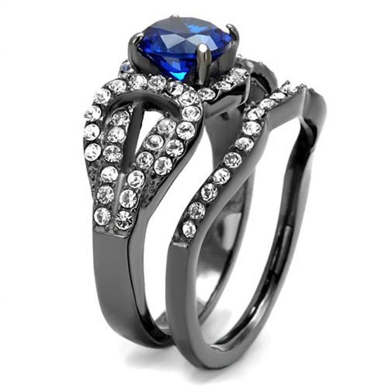 ARTK2740 Womens London Blue Synthetic Spinel Light Black Stainless Steel Wedding Ring Set