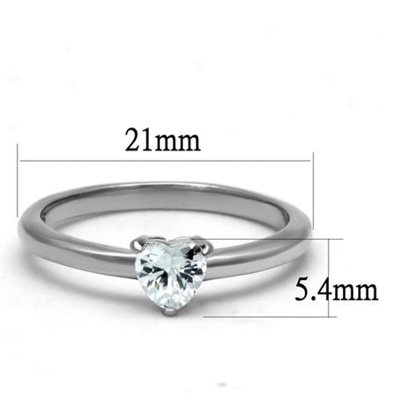 ARTK2904 Stainless Steel .44 Ct Heart Solitaire Zirconia, Engagement Ring Women's Sz 5-10