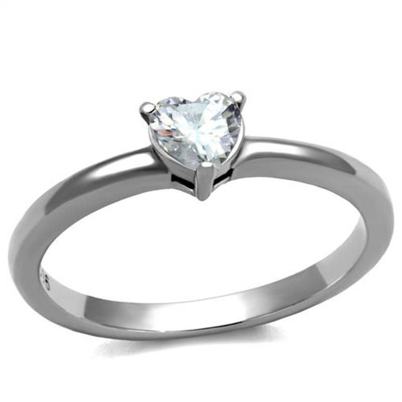 Women's .44 Ct Heart Solitaire Zirconia, Stainless Steel Engagement Ring Sz 5-10