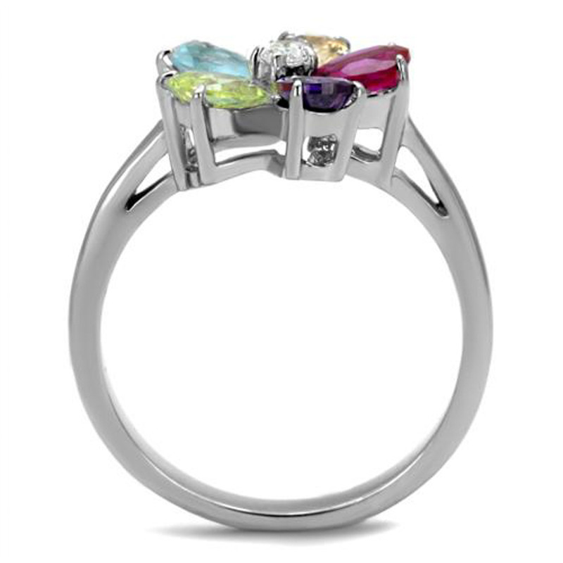 ARTK2867 Stainless Steel 1.86 Ct Mulit Color Cubic Zirconia Cocktail Ring Women's Sz 5-10
