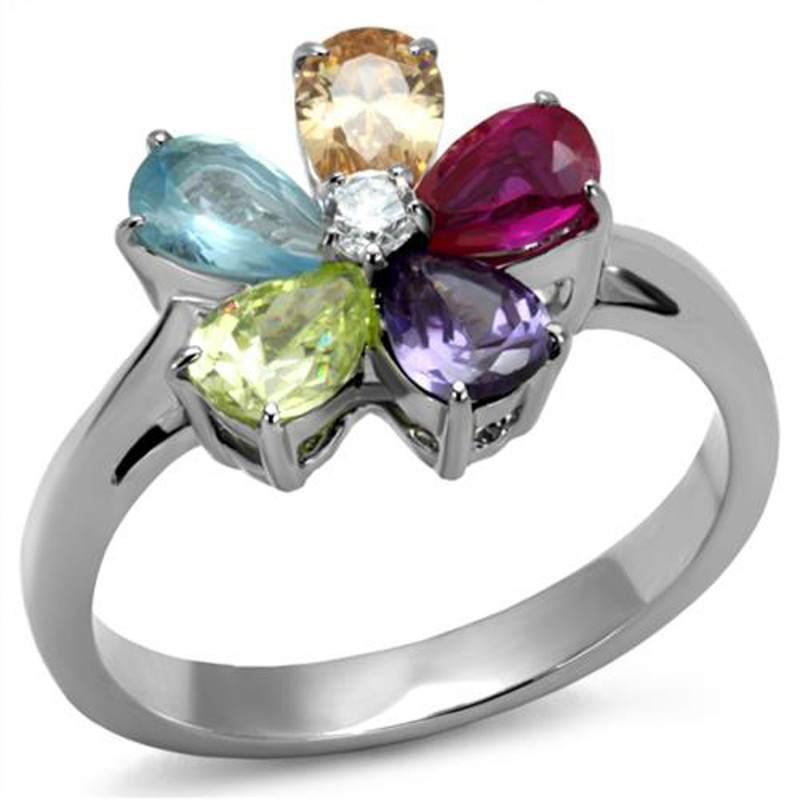 1.86 Ct Mulit Color Cubic Zirconia Stainless Steel Cocktail Ring Women's Sz 5-10