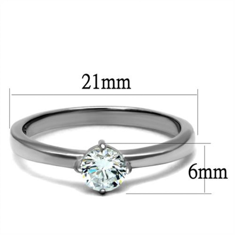 ARTK2903 Stainless Steel .46 Ct Solitaire Cubic Zirconia, Engagement Ring Women's Sz 5-10