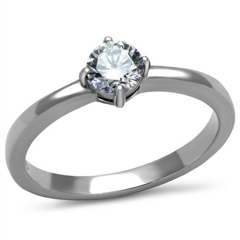 Women's .46 Ct Solitaire Cubic Zirconia, Stainless Steel Engagement Ring Sz 5-10