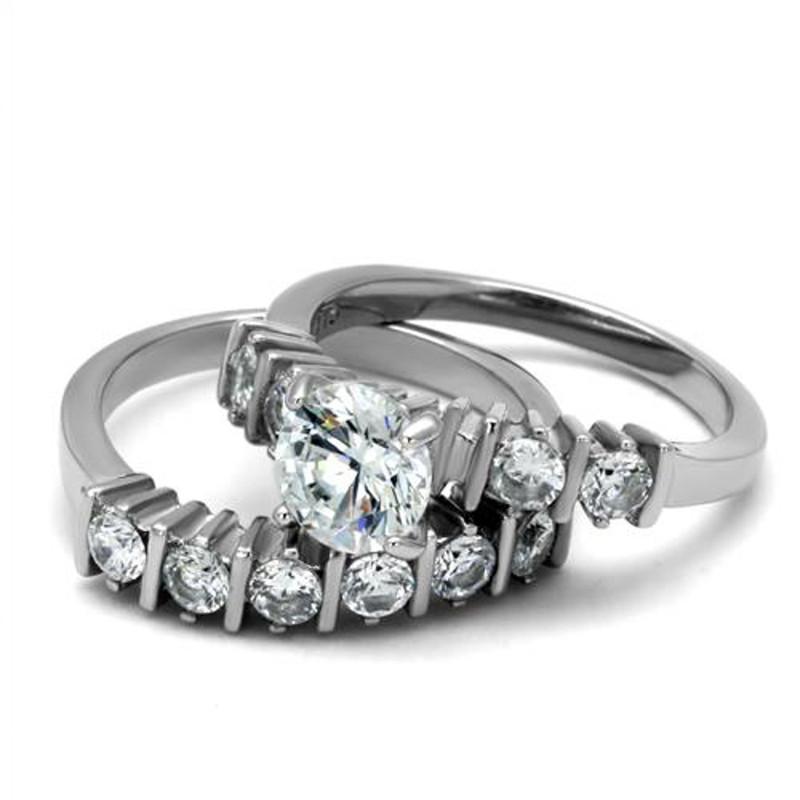 ARTK2869 Stainless Steel 2.38 Ct Round Cut Cz Women's Engagement Wedding Ring Band Set