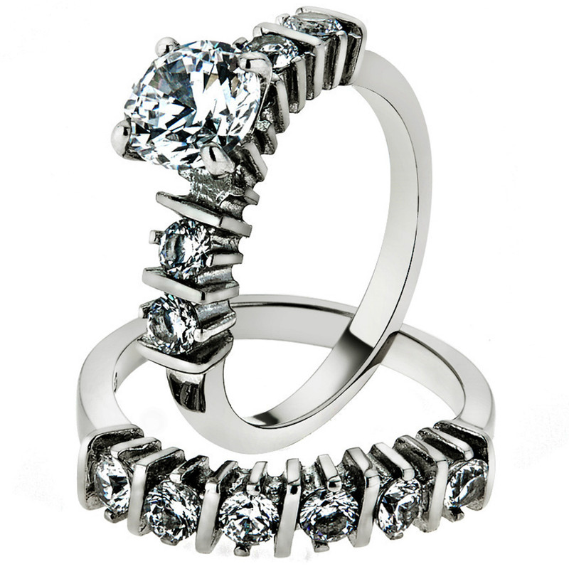 Women's 2.38 Ct Round Cut Cz Stainless Steel Engagement Wedding Ring Band Set