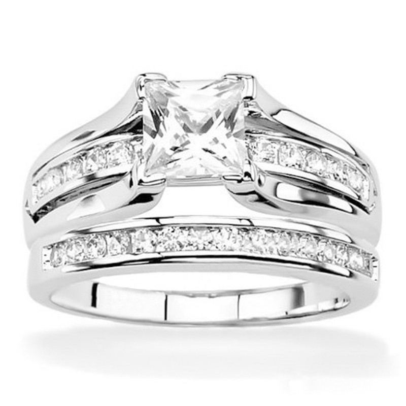 STLOS256-ARH1570 His & Hers .925 Sterling Silver Wedding Ring Set & Stainless Steel Eternity Band