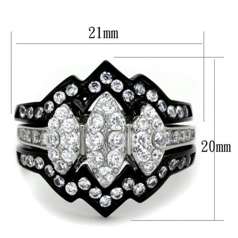 ST1869-ARTI4317 His & Her 4pc Black & Silver Stainless Steel & Titanium Wedding Ring Band Set