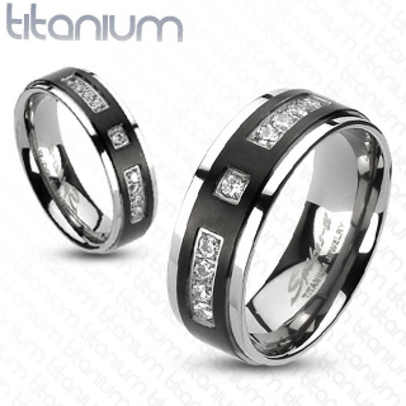 ST1919-RTI4317 His & Her Stainless Steel 2.75 Ct Cz Bridal Set & Men's Titanium Wedding Band
