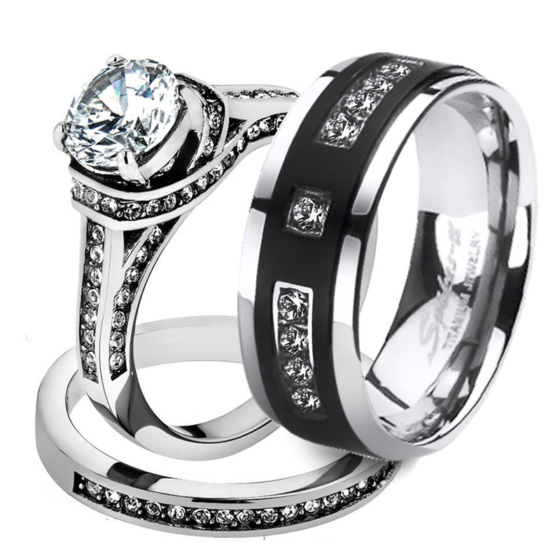 Her His 3pc Stainless Steel Wedding Engagement Ring & Titanium Wedding Band Set