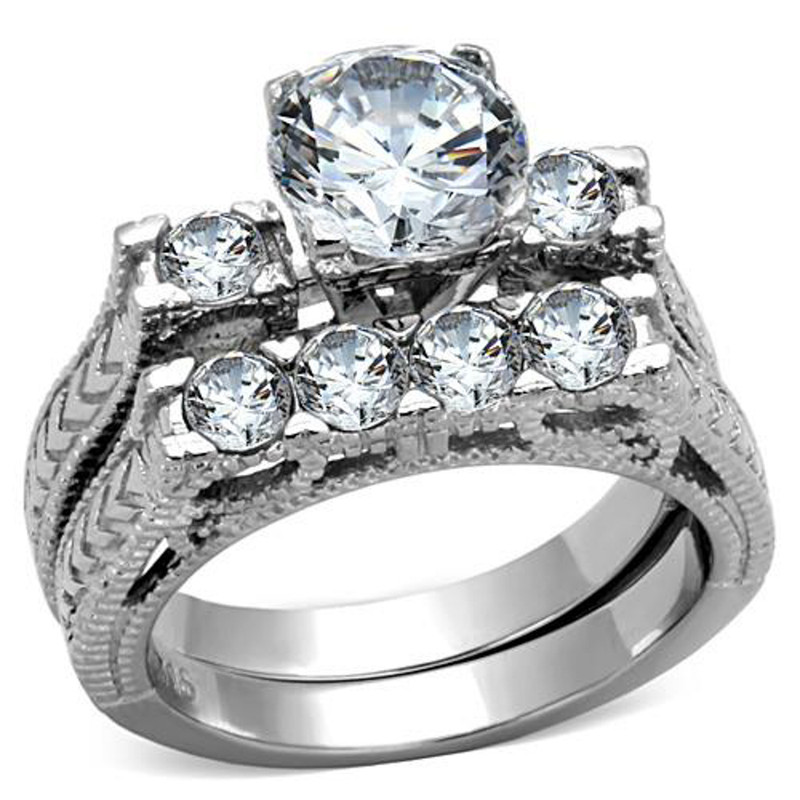 ST5X019-ARM0006 His & Her 3pc Stainless Steel 2.95 Ct Cz Bridal Ring Set & Men Beveled Edge Band