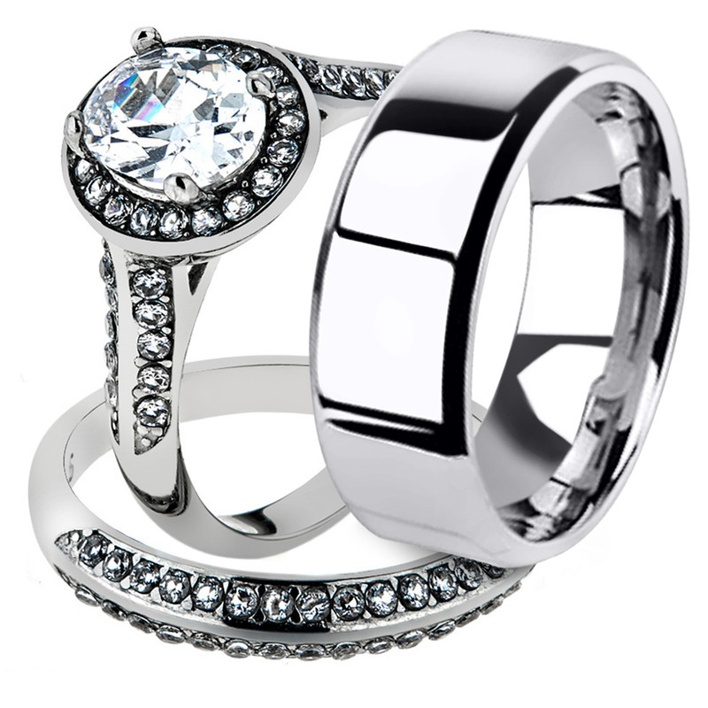 His & Her Stainless Steel Halo Engagement Bridal Ring Set & Men'sWedding Band