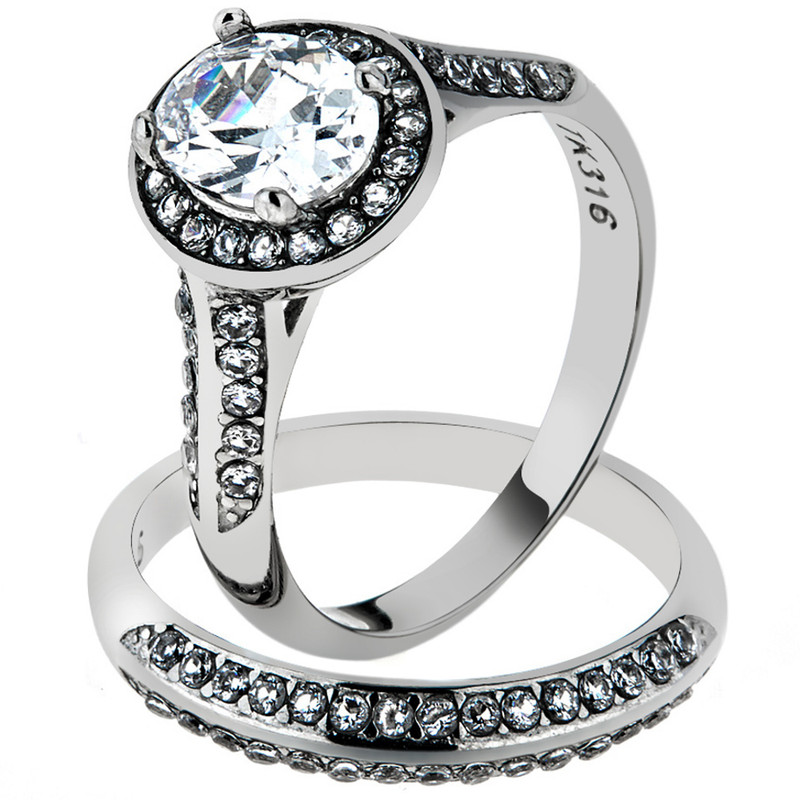 ST1W163-ARH1570 His & Hers Stainless Steel 2.60 Ct Cz Bridal Set & Men's Eternity Wedding Band
