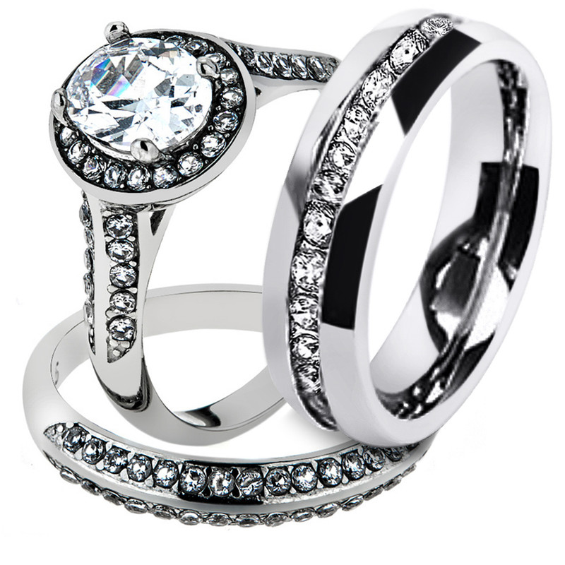 His & Hers Stainless Steel Halo Bridal Ring Set & Men's Eternity Wedding Band