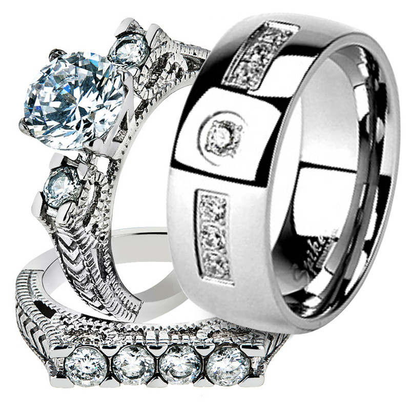Hers & His Stainless Steel Round Cut Vintage Bridal Ring Set & Cz Wedding Band