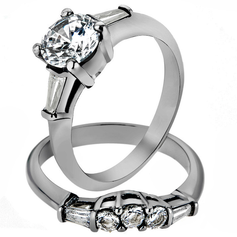 ST1W001-AR001 His & Her 3pc Stainless Steel 1.95 Ct Cz Bridal Set & Men's Classic Wedding Band