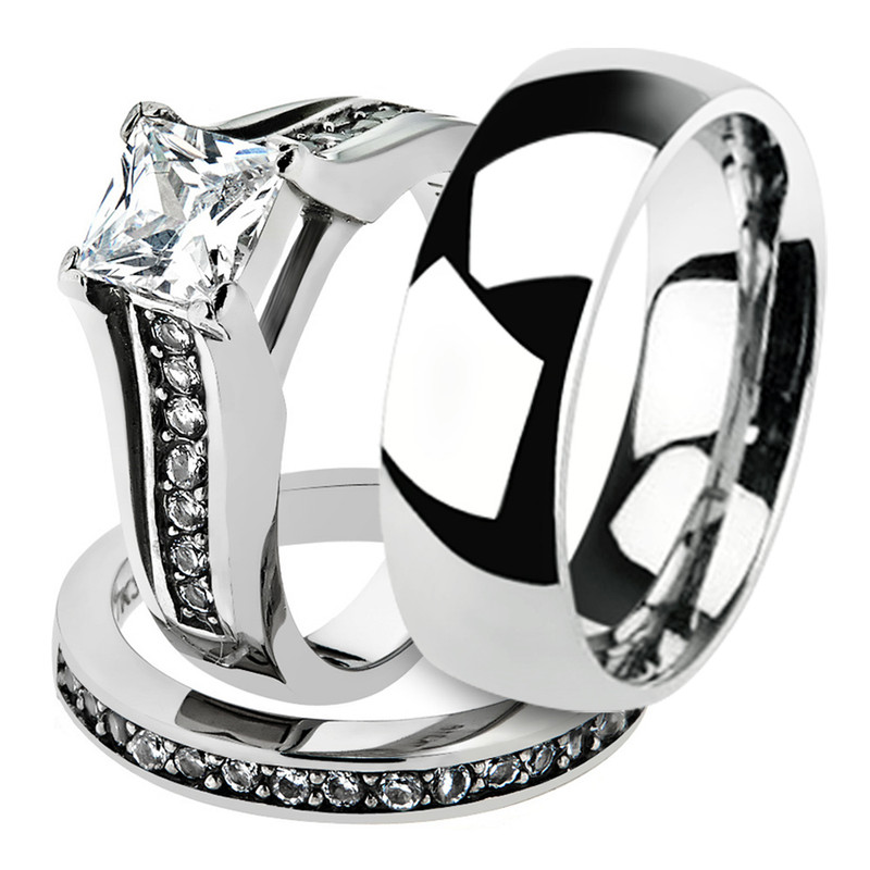 His & Hers Stainless Steel Princess Bridal Ring Set & Men's Classic Wedding Band