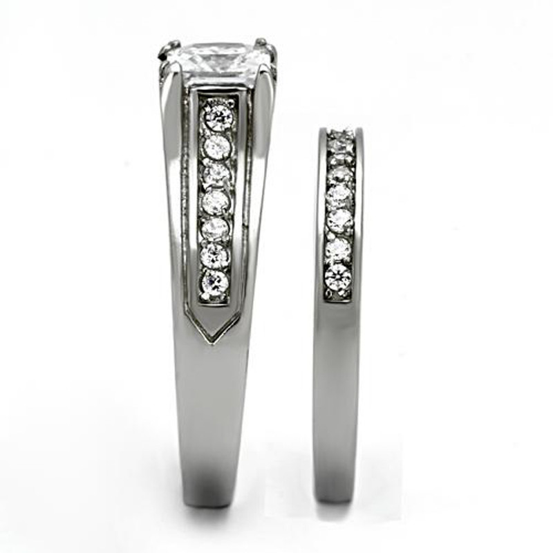 ST969-AR001 His & Her 3pc Stainless Steel 2.10 Ct Cz Bridal Set & Men's Classic Wedding Band