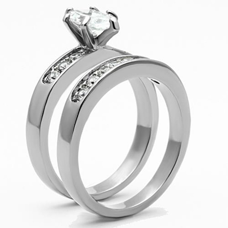 ST1319-AR001 His & Her 3pc Stainless Steel 1.65 Ct Cz Bridal Set & Men's Classic Wedding Band