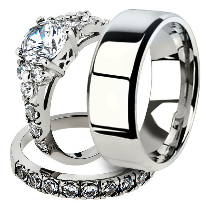 His & Her 3pc Stainless Steel Engagement Bridal Ring Set & Men Beveled Edge Band