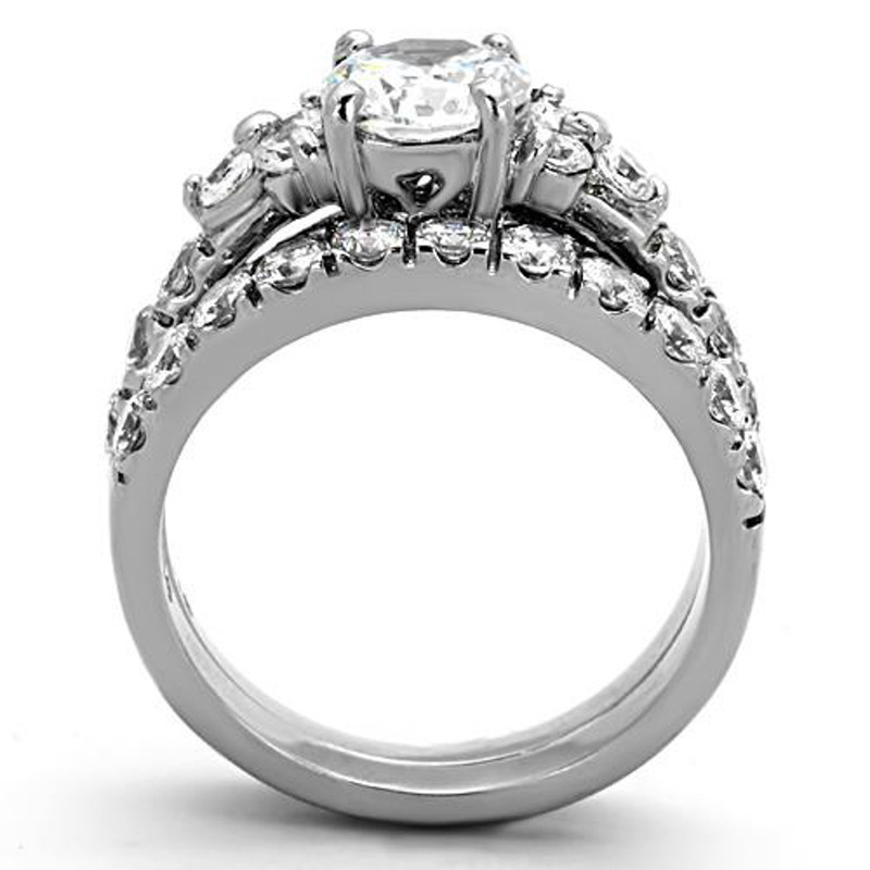 ST1331-ARM0006 His & Her 3pc Stainless Steel 2.50 Ct Cz Bridal Ring Set & Men Beveled Edge Band