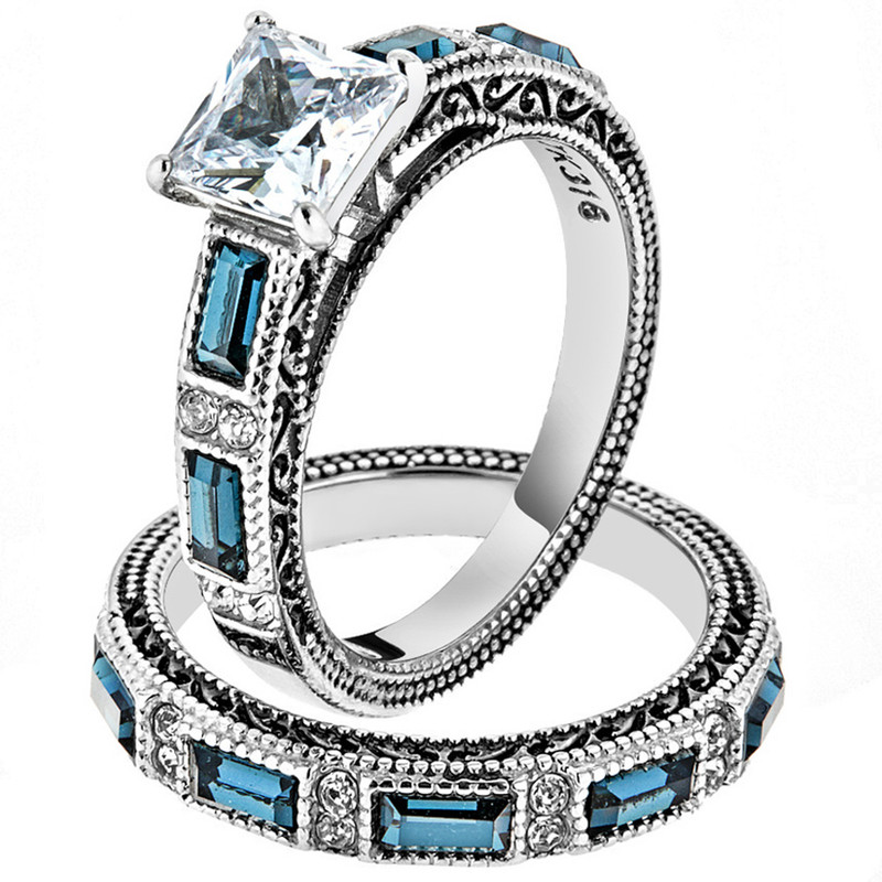 ST1829-AR001 His & Her 3pc Stainless Steel 2.60 Ct Cz Bridal Set & Men's Classic Wedding Band