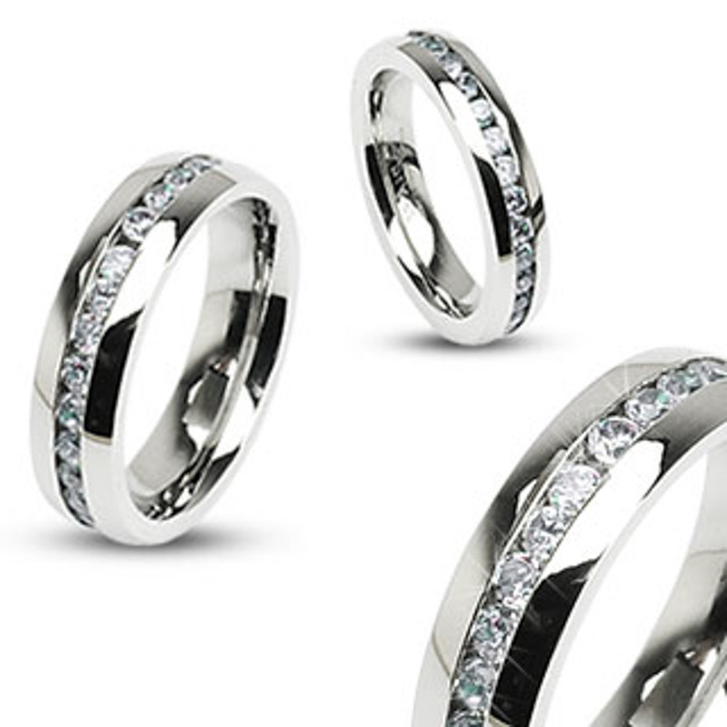 ST2175-ARH1570 His & Hers Stainless Steel 2.25 Ct Cz Bridal Set & Men's Eternity Wedding Band