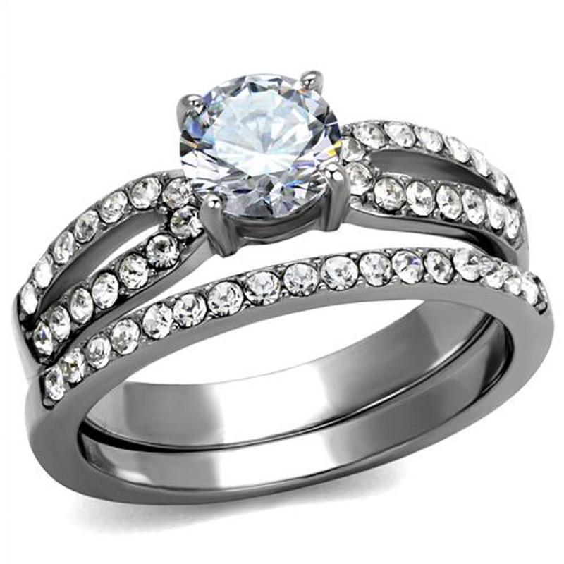 ST2292-ARTI4317 His & Her 3pc Stainless Steel 1.25 Ct Cz Bridal Set & Mens Titanium Wedding Band